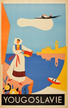 Original Vintage Poster Yougoslavie Yugoslavia Travel Plane Sea Flowers Design