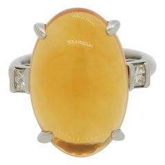 Jelly Fire Opal Diamond Platinum Ring