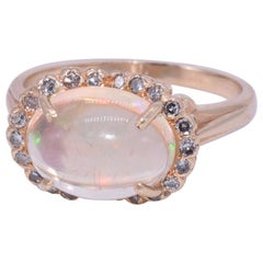 Jelly Opal and Diamond Cluster Ring