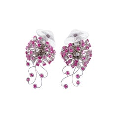 Jellyfish Diamond Ruby Pink Sapphire Rock Crystal White 18 Kt Gold Drop Earrings