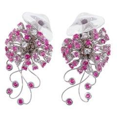 Jellyfish Diamond Ruby Pink Sapphire Rock Crystal White 18 Kt Gold Drop Earrings