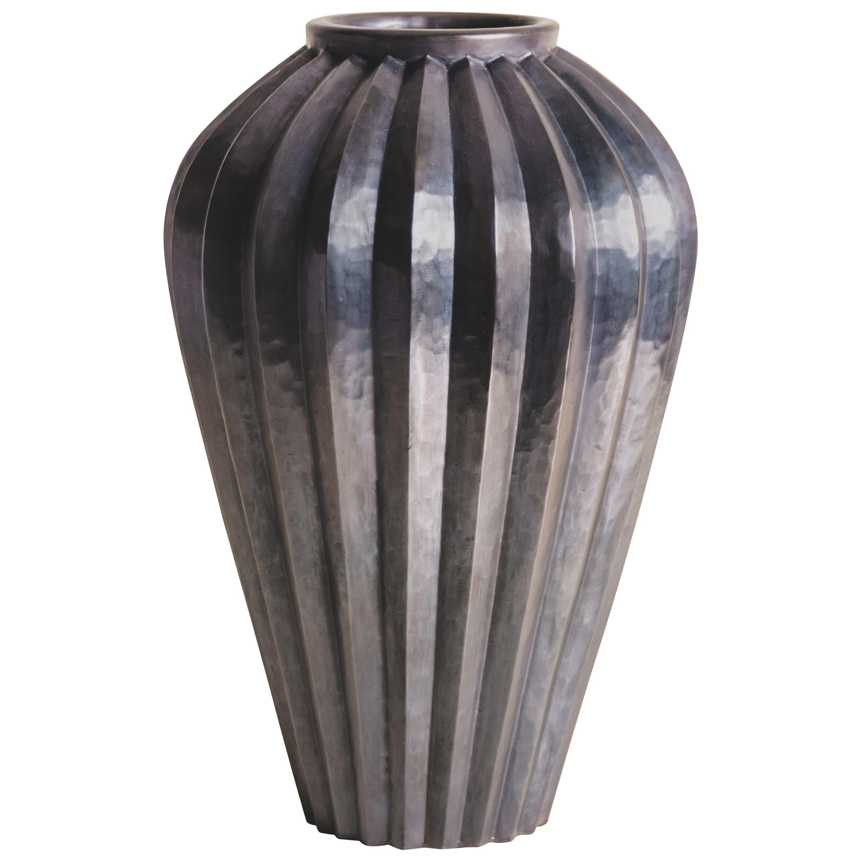 Jen Lin Vase, Antique Copper by Robert Kuo, Hand Repousse, Limited Edition