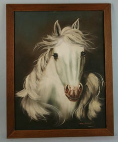 Vintage White Stallion Equestrian Oil Painting