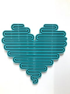 Unraveling Heart (Blue), 2020, Jenna Krypell, Wall Sculpture-MDF, Resin, Enamel