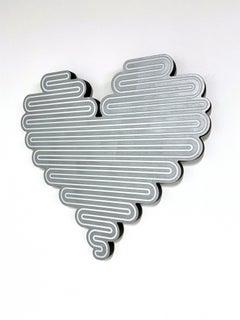 Unraveling Heart-Silver, 2021, Jenna Krypell, Wall Sculpture-MDF, Resin, Enamel