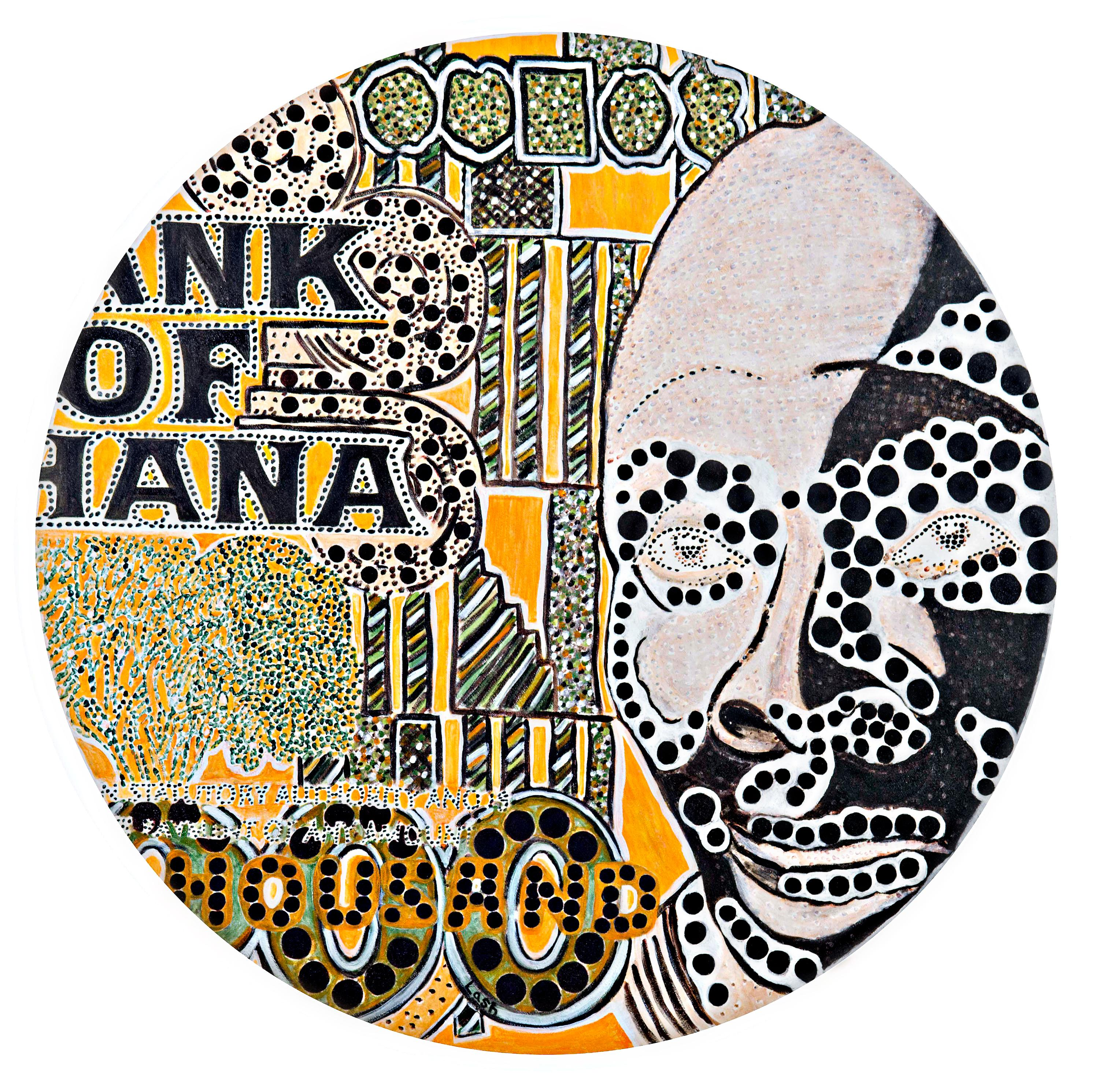 Mask, bold graphic colorful pointillist patterns text global currency