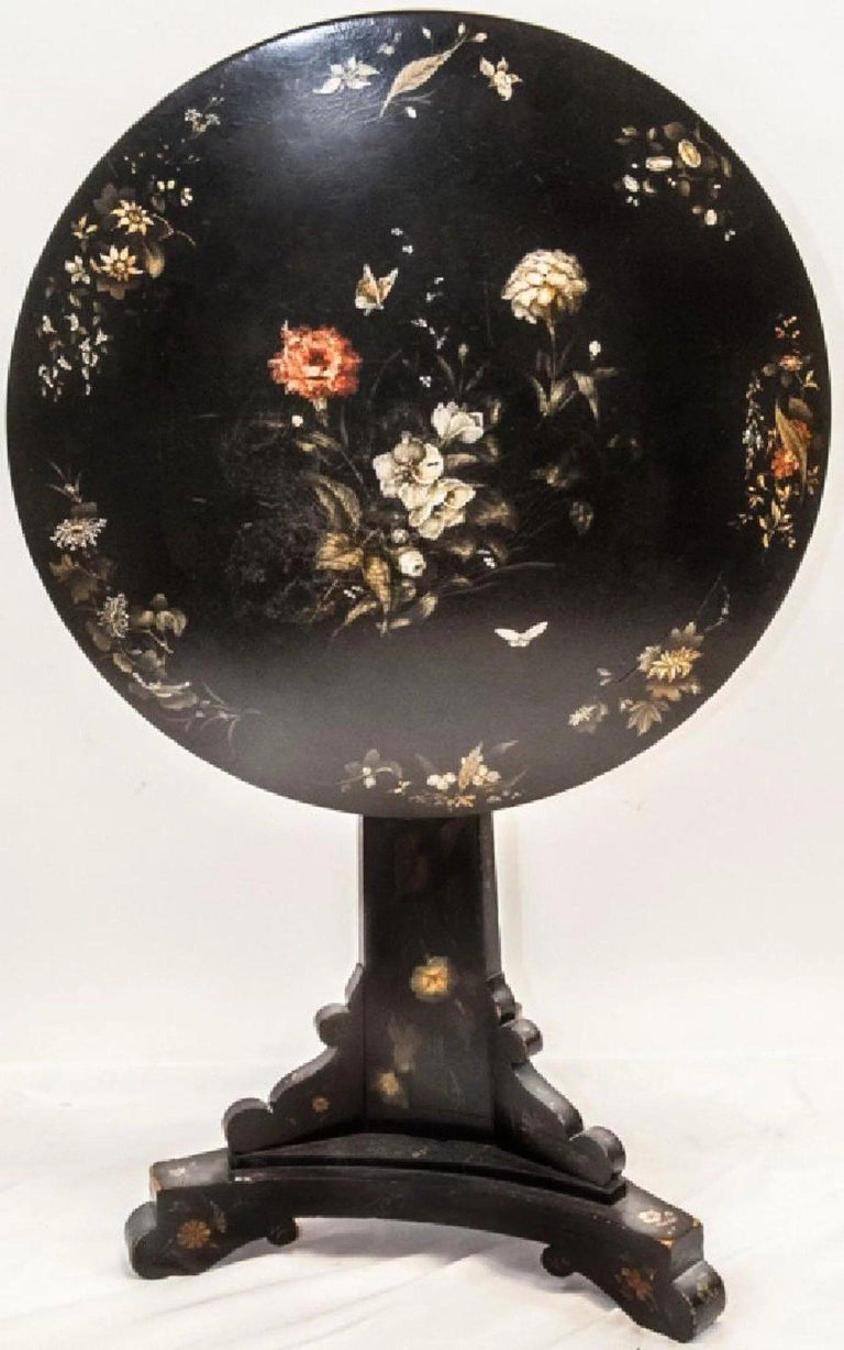 Antique English Victorian 19th C. Jennens & Bettridge Tilt Top Table. This 19th Century tilt top table is by Jennings & Bettridge Makers to the Queen. Circa mid-1800's it is hand painted with a floral motif and carries the makers stamp.