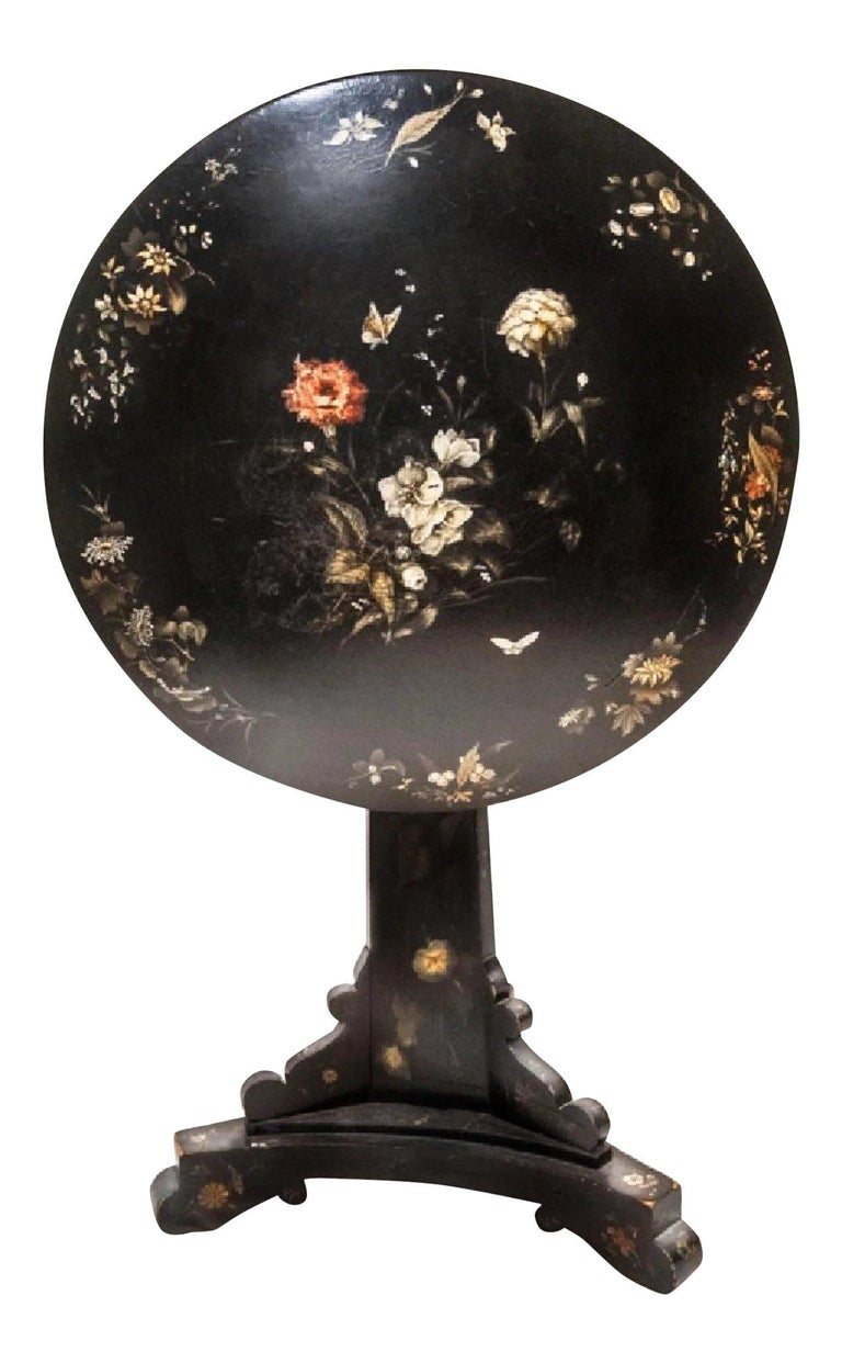 High Victorian Jennens & Bettridge 19th-Century Victorian Tilt-Top Table, British Antique For Sale
