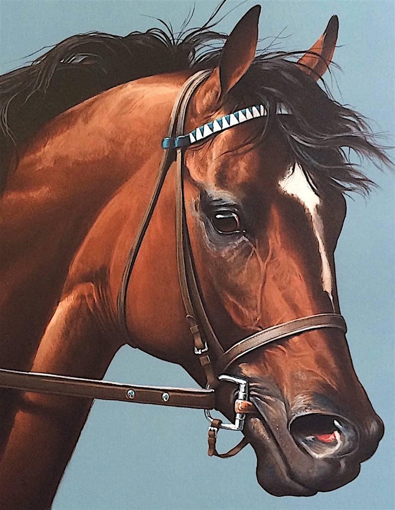 CIGAR-Champion Horse Portrait, Hand Drawn Lithograph, Horse Racing History - Print by Jenness Cortez