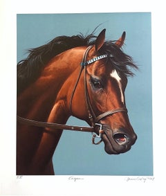 CIGAR-Champion Horse Portrait, Hand Drawn Lithograph, Horse Racing History