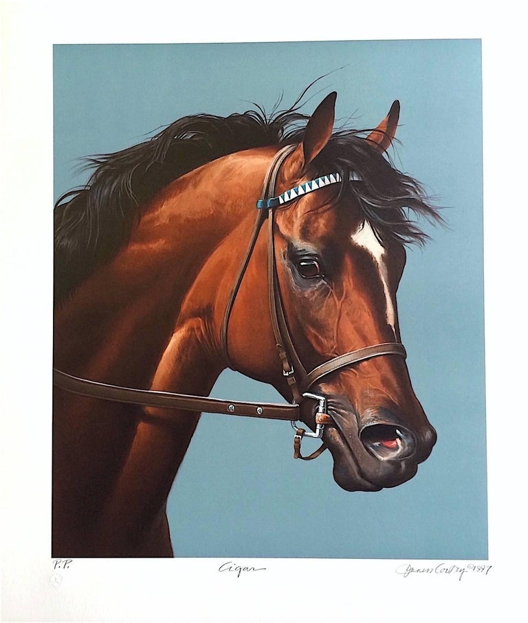 Jenness Cortez Animal Print - CIGAR-Champion Horse Portrait, Hand Drawn Lithograph, Horse Racing History