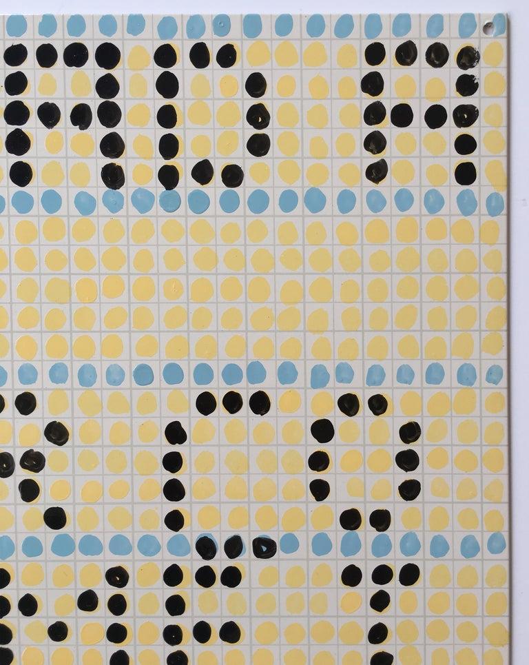 Jennifer Bartlett Dear Dad, 2004 Enamel over silkscreen grid on baked enamel and steel plates 19.75 x 19.75 inches Signed