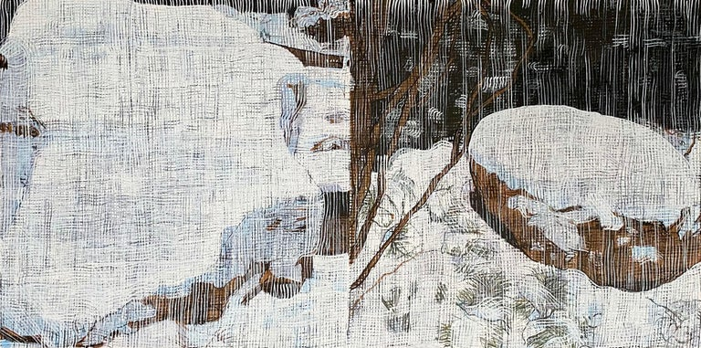 """Two Boulders"" Jennifer Bartlett Winter Landscape Edition Print  - Gray Still-Life Print by Jennifer Bartlett"
