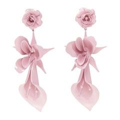 JENNIFER BEHR hand made pink enamel floral drop statement earring
