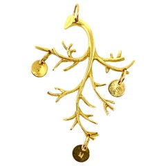 Jennifer Fisher 18k Yellow Gold Branch Pendant w/ J M S Initial