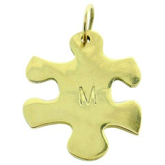Jennifer Fisher 18k Yellow Gold M Initial Puzzle Piece Charm Pendant