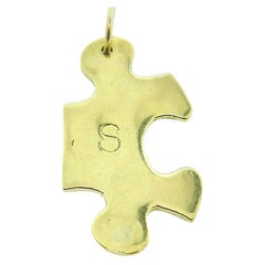 Jennifer Fisher 18k Yellow Gold S Initial Puzzle Piece Charm Pendant