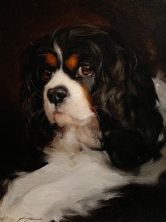 Exceptional Portrait of a King Charles Cavalier spaniel dog