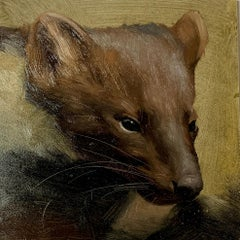 Portrait of an American Weasel head, with amazing painted hair.