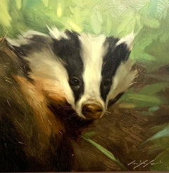 Realistic portrait study of an American Badger in a landscape