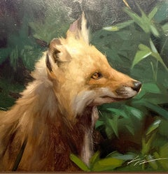 Realistic portrait study of an American Fox, in a landscape
