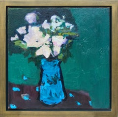 Blue with Alizarin Brown - small blue, pink, green, figurative still life oil