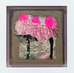 Can-Can - Small Hot Pink and Gold Oil Painting of Parisien Dance