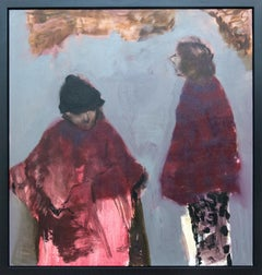 Connecting Red With Grey - large pink, blue, brown, figurative women oil