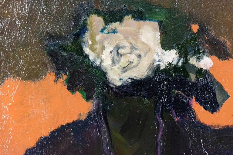 Creamy coloured flowers against a dark green and orange background, with a patch of pink in front in this evocative sophisticated oil composition from master Jennifer Hornyak.  Hornyak was born in England where she studied at the Grimsby School of