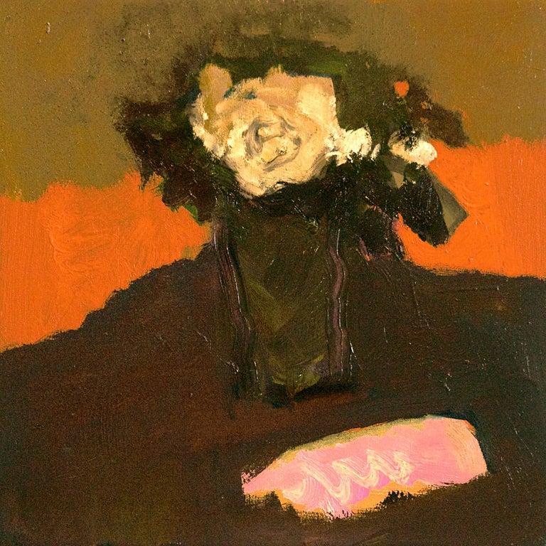 Cream Rose with Pink - small dark green, orange, figurative still life oil For Sale 1