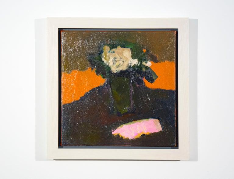 Cream Rose with Pink - small dark green, orange, figurative still life oil For Sale 2