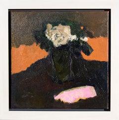 Cream Rose with Pink - small dark green, orange, figurative still life oil