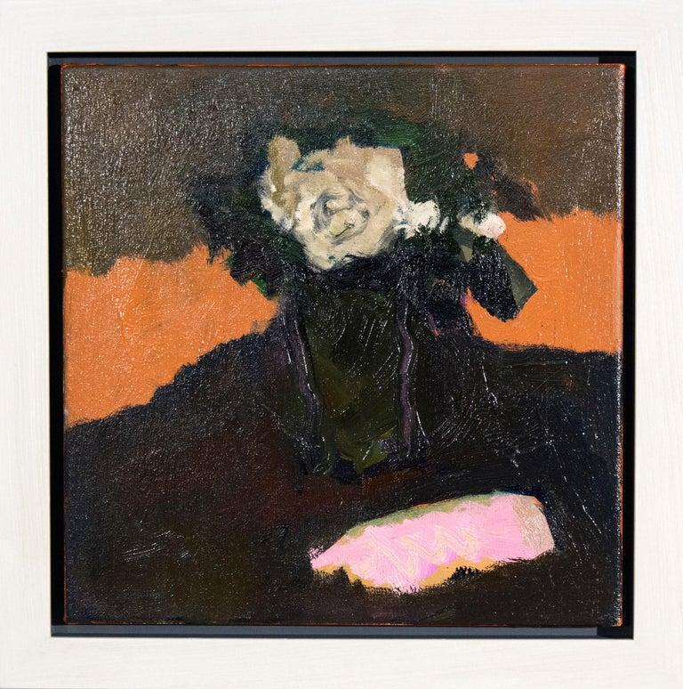 Jennifer Hornyak Still-Life Painting - Cream Rose with Pink - small dark green, orange, figurative still life oil