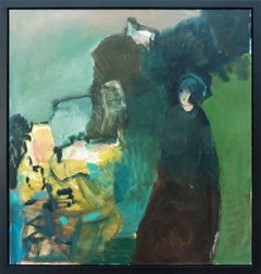 Crepiscules verts - large green, blue, yellow, woman figurative still life oil