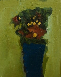 Flowers with Royal Blue Vase, abstract floral oil painting on canvas