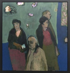 Four Figures - Large green, blue, red, man and women figurative oil