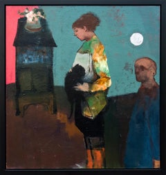 Girl with Black Cat and Silver Moon - Large cyan, brown, man, figurative oil