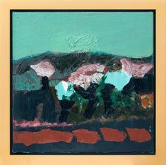 Going by Trees in Spring - small teal green, blue, red, abstract landscape oil