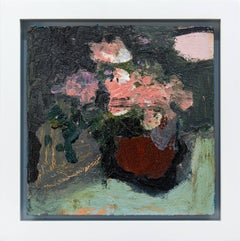Mahogany Brown with Pink - elegant small green, lilac floral still life oil