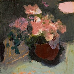 Mahogany Brown with Pink - Elegant Small Floral Still Life