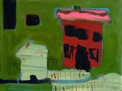 Maison avec toit rose