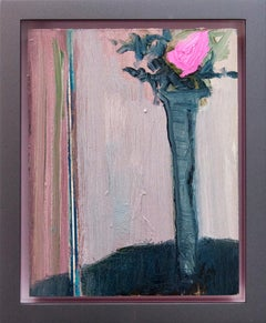 My Pink with Blue Grey - small bright, colourful, floral still life oil