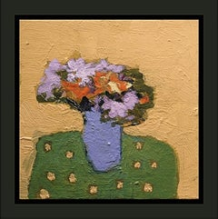 Naples Yellow with Lavender - small bright, colourful, floral still life oil
