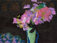 Pink and Lilac Flowers on Black Ground, abstract floral oil painting on canvas