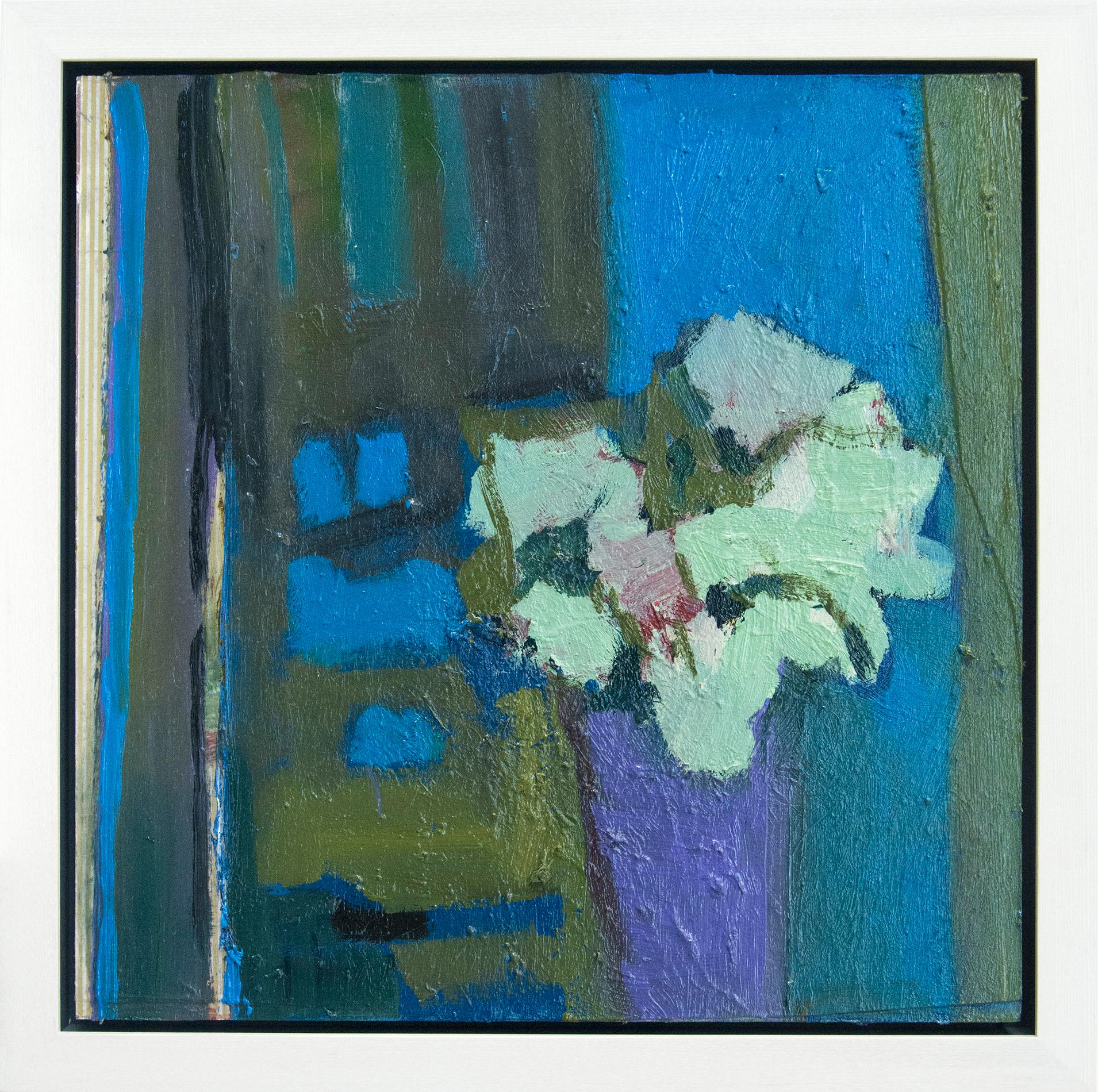 Pink Flower with Green and Bronze - elegant textured florals, still life oil