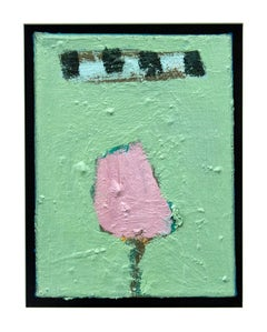 Pink Tulip with Apple Green - small, bright, floral, figurative, still life oil