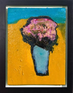 Yellow Burst with Pink and Turquoise - small bright orange floral still life oil