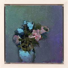 Blue Pimpernel - small, floral, intimate, figurative, still life oil on canvas