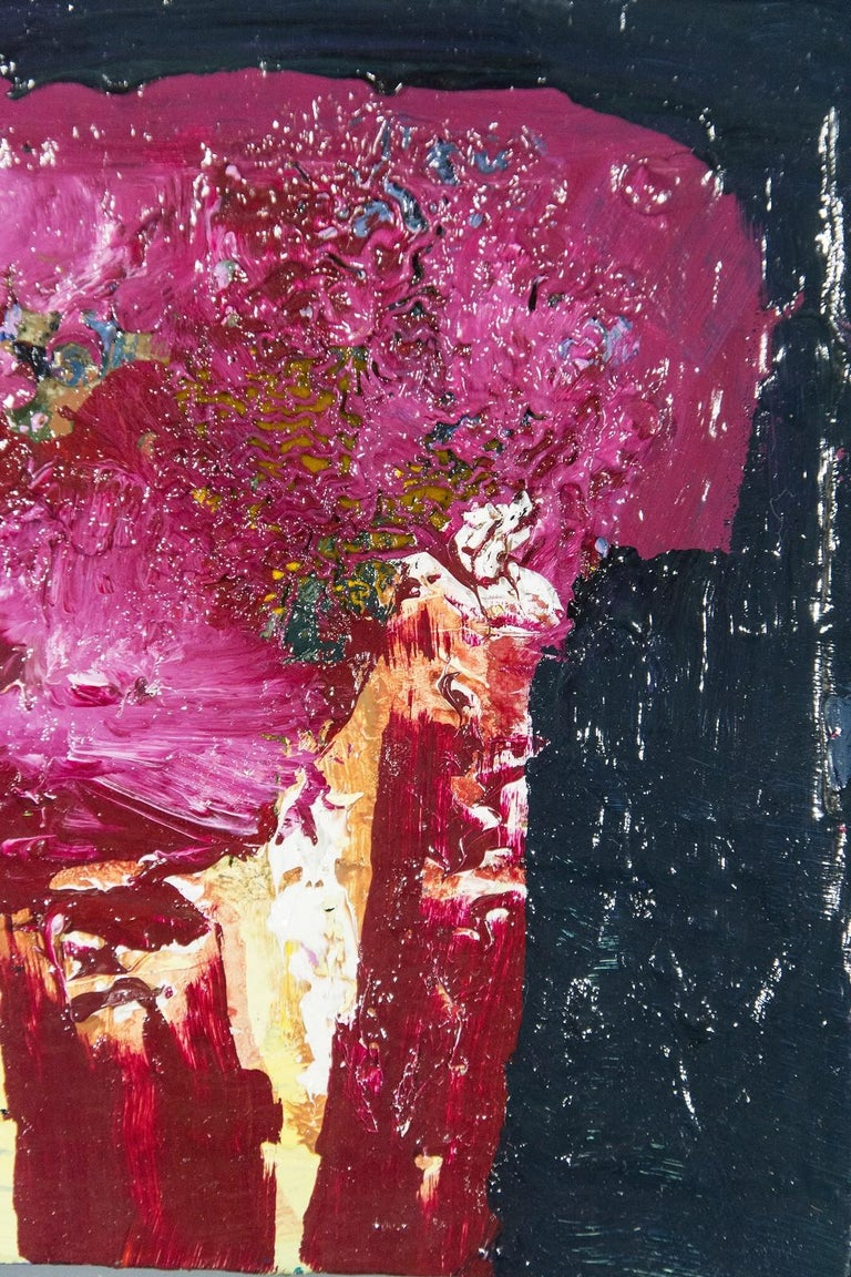 Brown Oxide with Magenta - small dark blue, pink, figurative still life oil - Pink Still-Life Painting by Jennifer Hornyak