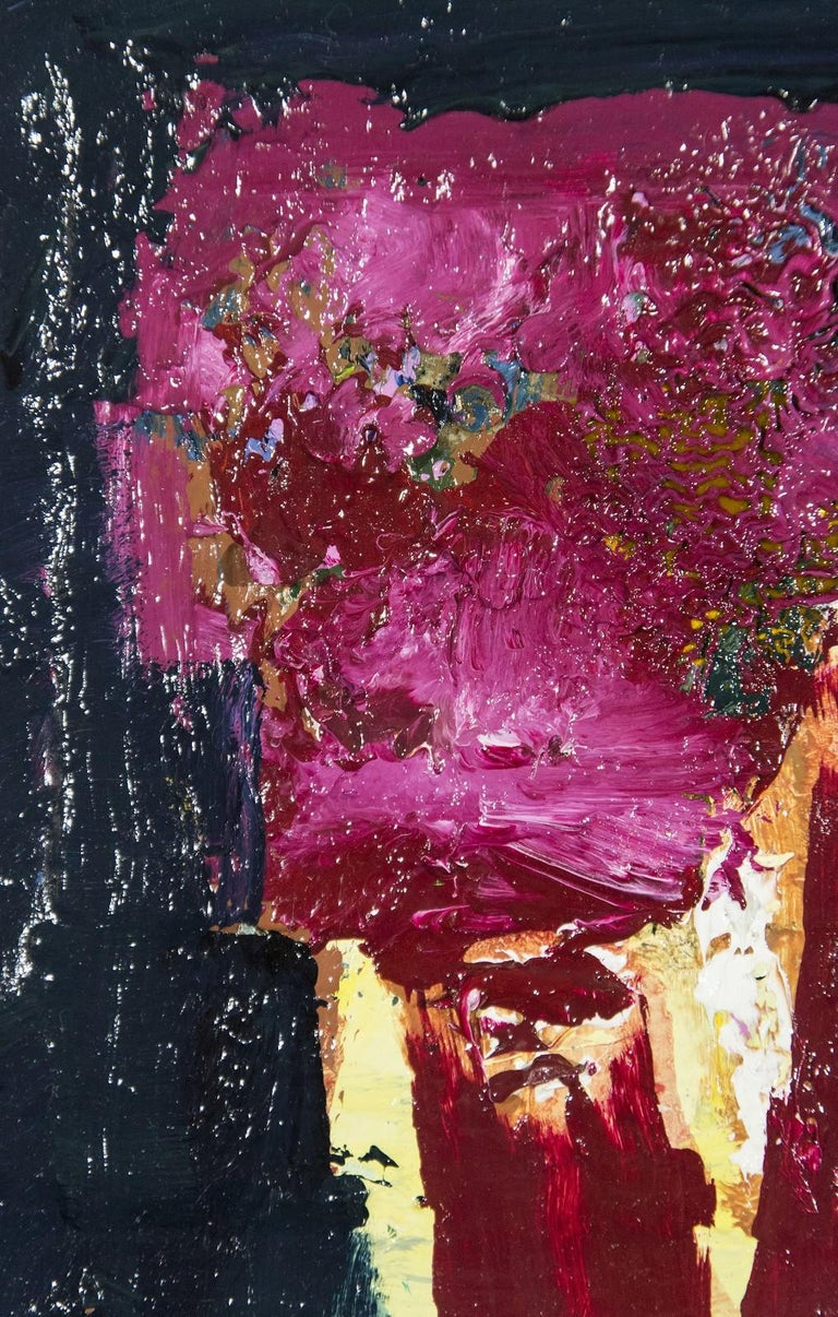 A bouquet of hot magenta flecked with brown oxide is framed on a blue-black ground in this textured oil on panel by Jennifer Hornyak. Hornyak is known for her still life and figurative paintings rendered in vivid colors with rich textured surfaces